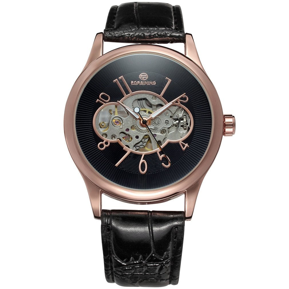 Costbuys  Men Mechanical Watch Male Skeleton Forsining Wristwatch Black Leather New Business Style Good Gift - Coffee