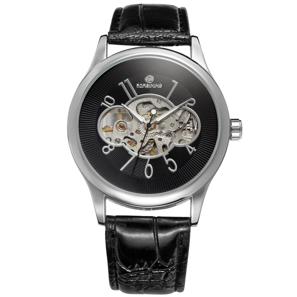Costbuys  Men Mechanical Watch Male Skeleton Forsining Wristwatch Black Leather New Business Style Good Gift - Silver