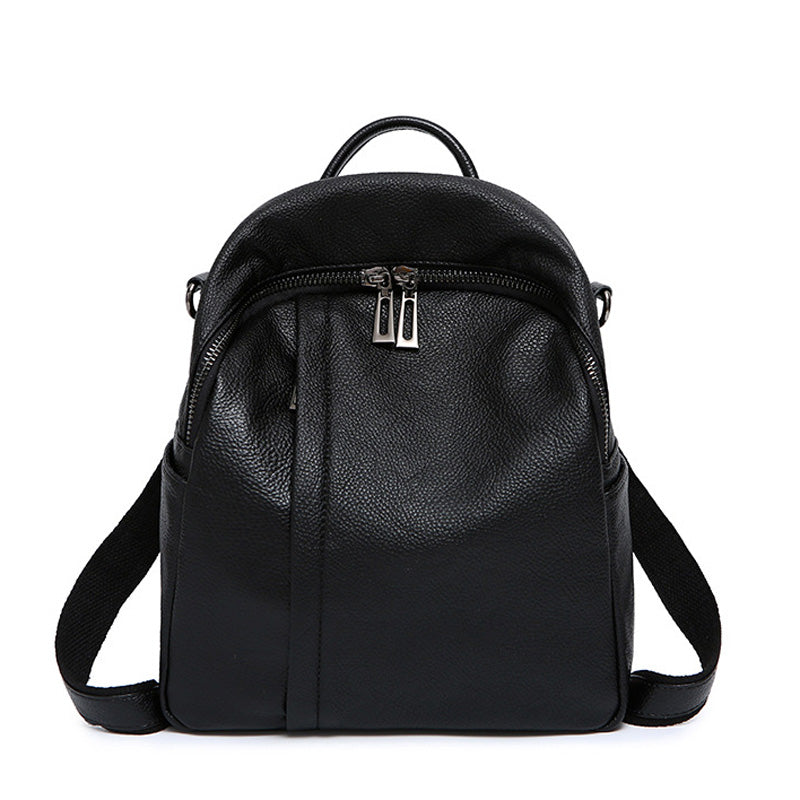 Costbuys  Style Black Backpacks Women High Quality Genuine Leather Cowhide Female Daypack Casual School Preppy Style Girl - 25cm