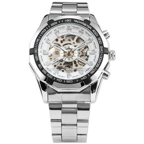 Male watches automatic watch luxury men 39 s classic stainless steel self costbuys for Classic skeleton watch