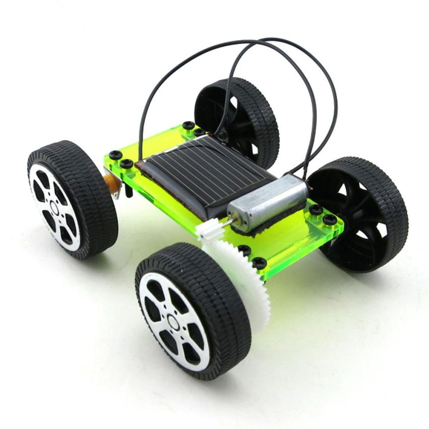 Costbuys  New 1 Set Mini Solar Powered Toy DIY Car Kit Children Educational Gadget Hobby Funny Toy - United States / green