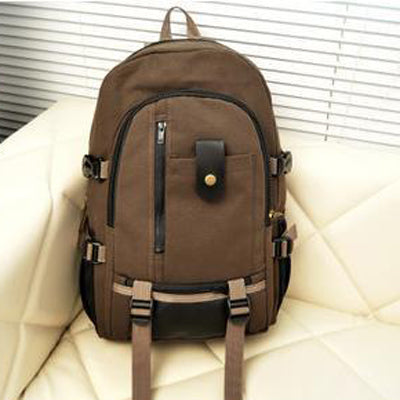 Costbuys  Men and Women Outdoor Sports Canvas Backpack Camping Travel Mountaineering Bag Rucksack Bicycle Hiking Bags - Brown /