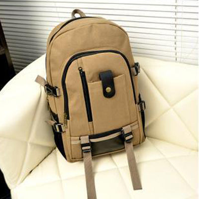 Costbuys  Men and Women Outdoor Sports Canvas Backpack Camping Travel Mountaineering Bag Rucksack Bicycle Hiking Bags - Khaki /