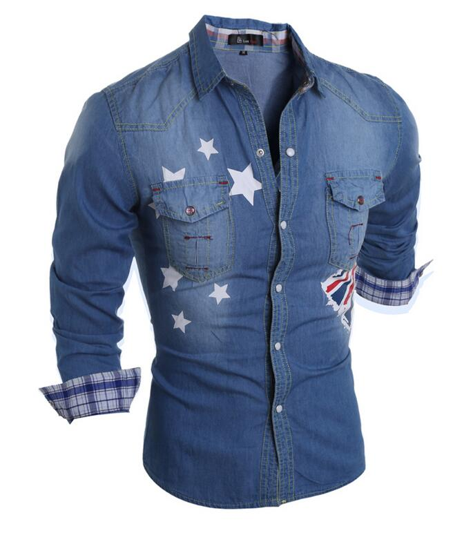 Costbuys  2018 New Autumn new cotton men's long-sleeved denim shirt Korean Men's - Blue / XL