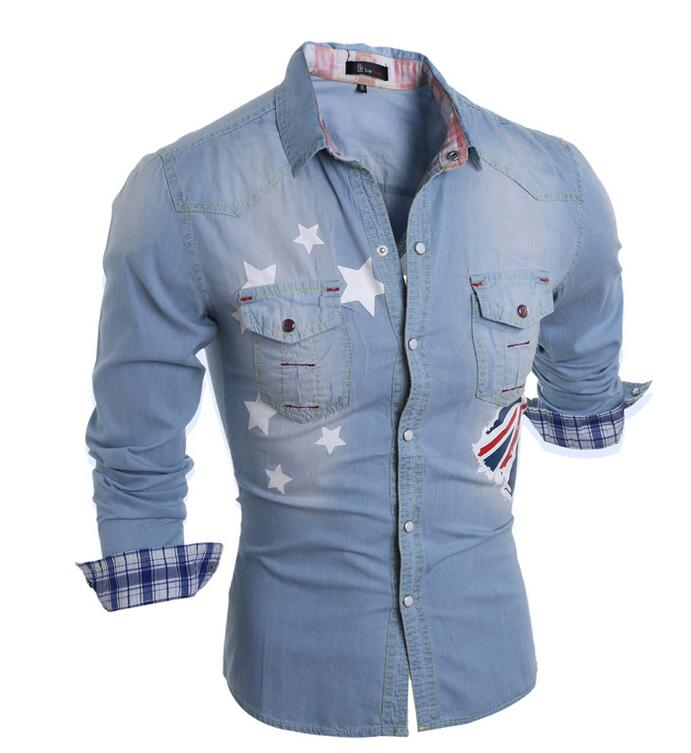 Costbuys  2018 New Autumn new cotton men's long-sleeved denim shirt Korean Men's - Sky Blue / XL