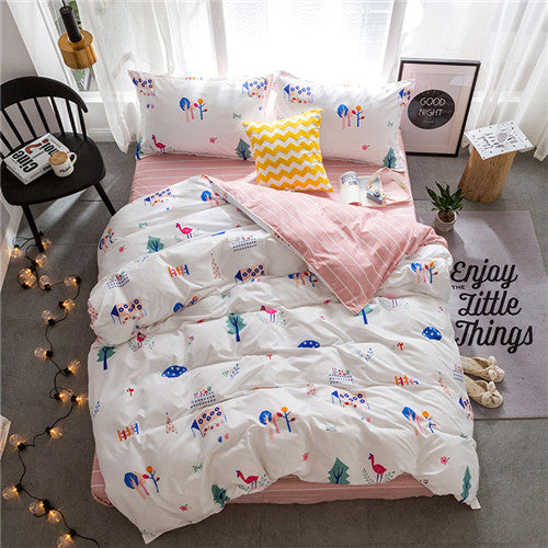 Costbuys  New Bedding set Reindeer duvet cover set Fashion bed sheet white AB side bed linens 5 size Adult bed linens bed cover