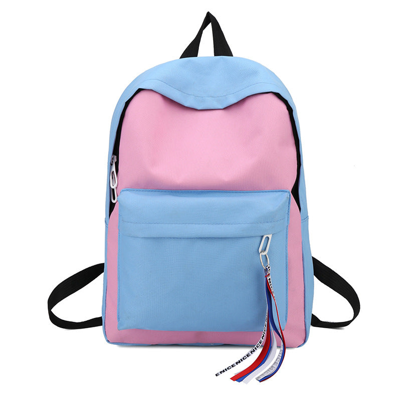 Costbuys  New Canvas Backpack for Teenage Girls School Bags Ribbon Hip Hop Bags Rucksack Female Travel Backpacks rugzak - Pink
