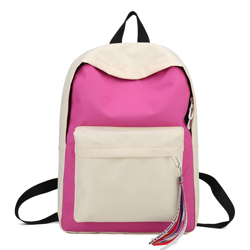 Costbuys  New Canvas Backpack for Teenage Girls School Bags Ribbon Hip Hop Bags Rucksack Female Travel Backpacks rugzak - Rose r