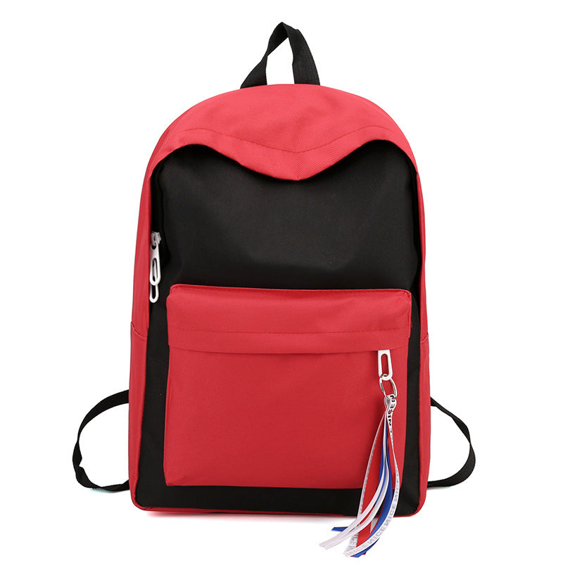 Costbuys  New Canvas Backpack for Teenage Girls School Bags Ribbon Hip Hop Bags Rucksack Female Travel Backpacks rugzak - Black