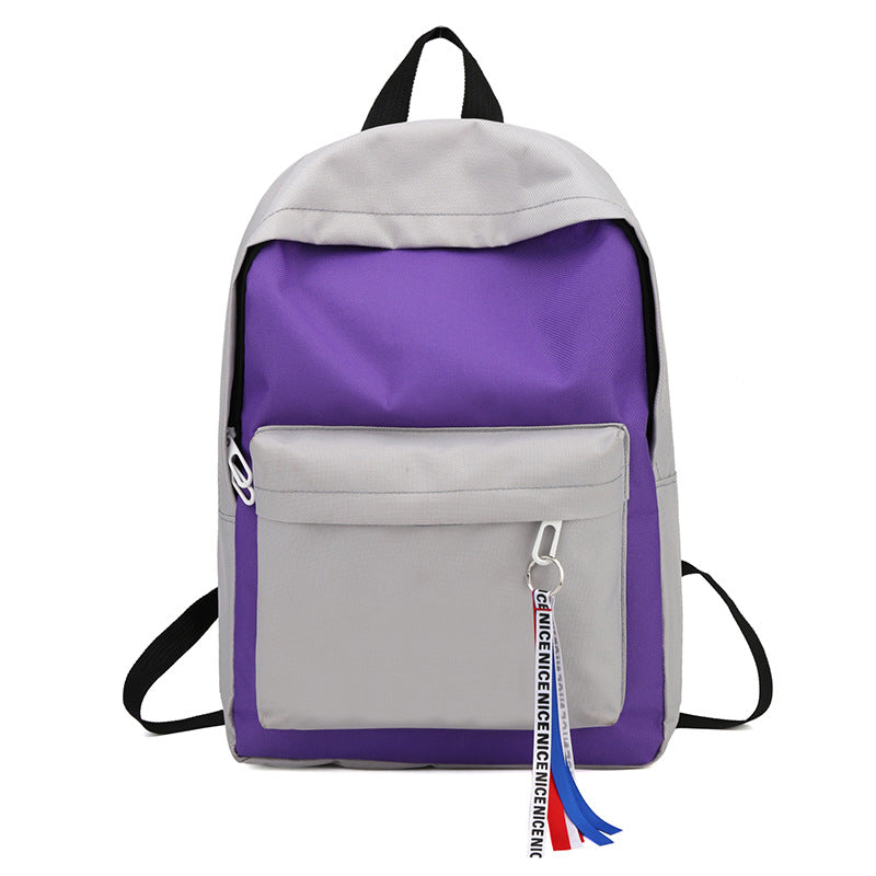 Costbuys  New Canvas Backpack for Teenage Girls School Bags Ribbon Hip Hop Bags Rucksack Female Travel Backpacks rugzak - Purple