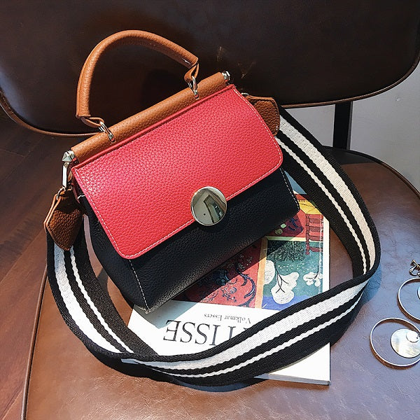 Costbuys  New Casual Patchwork Women Flap Panelled Leather Single Shoulder Crossbody Bags Soft Fashion Womens Handbags Small Tot