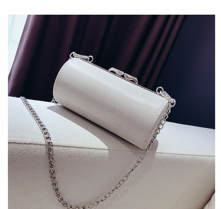 Costbuys  New Fashion Cylinder Striped Shoulder Bag Women PU Leather Chain Bag Female Cell Phone Pocket Bags Lady Mini Crossbody
