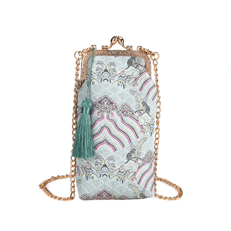 Costbuys  New Fashion Embroidery National Shoulder Bag Women Tassel Phone Bag Female Summer Chain Crossbody Bag Mini Portable Ha