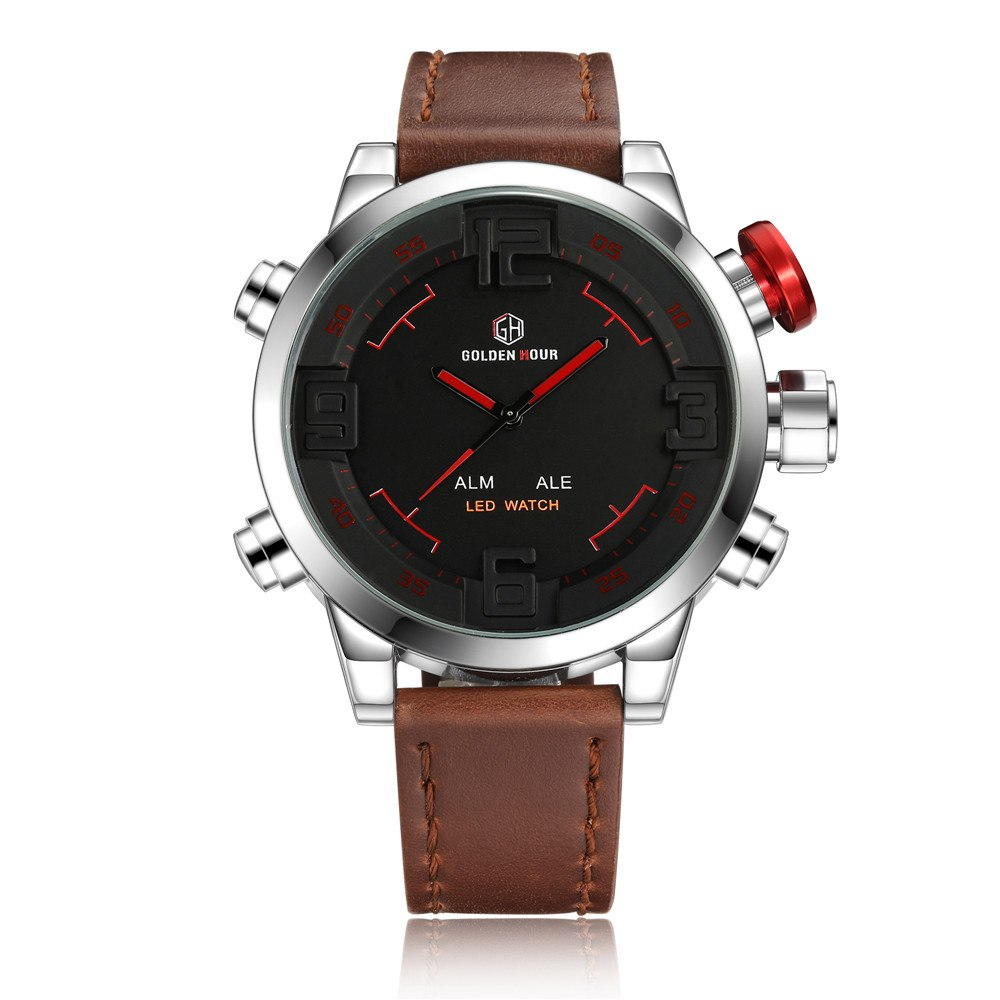 Costbuys  New Fashion Men Watches Led Militray Sport Quartz Men Watch Calendar Leather Waterproof Male Wristwatches Relogio Masc