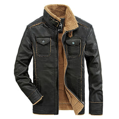 Fashion Stand Collar Men's Leather Motorcycle Jacket Vintage Thick Slim Veste Cuir Homme