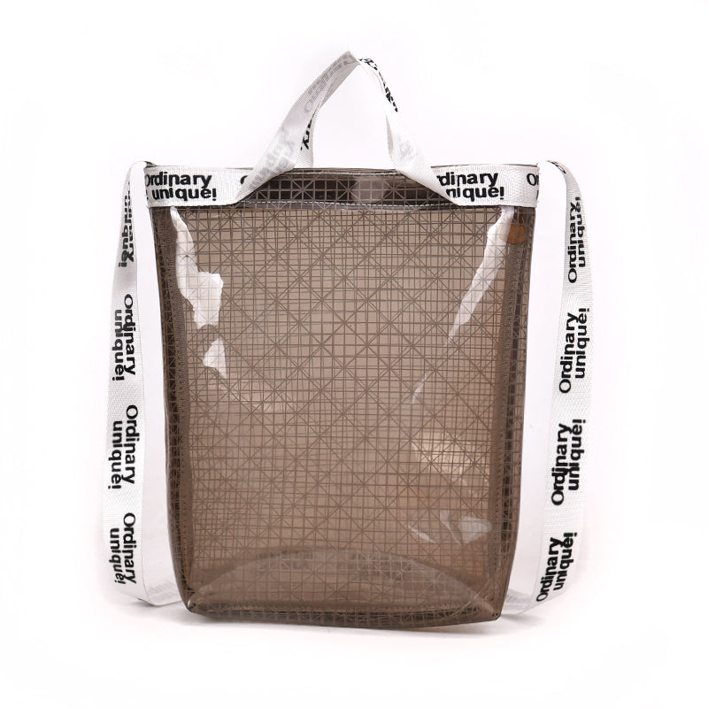 Costbuys  New Fashion Transparent Jelly Shuolder Bag Women PVC Plaid Casual Totes Handbag Female Letter Strap Crossbody Bag Lady