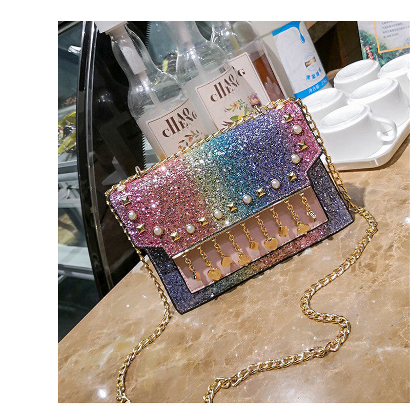 Costbuys  New Fashion Women Shoulder Bag Chains Crossbody Bags For Women Young Girls Handbag 4 Colors Sequins Ladies Messenger B