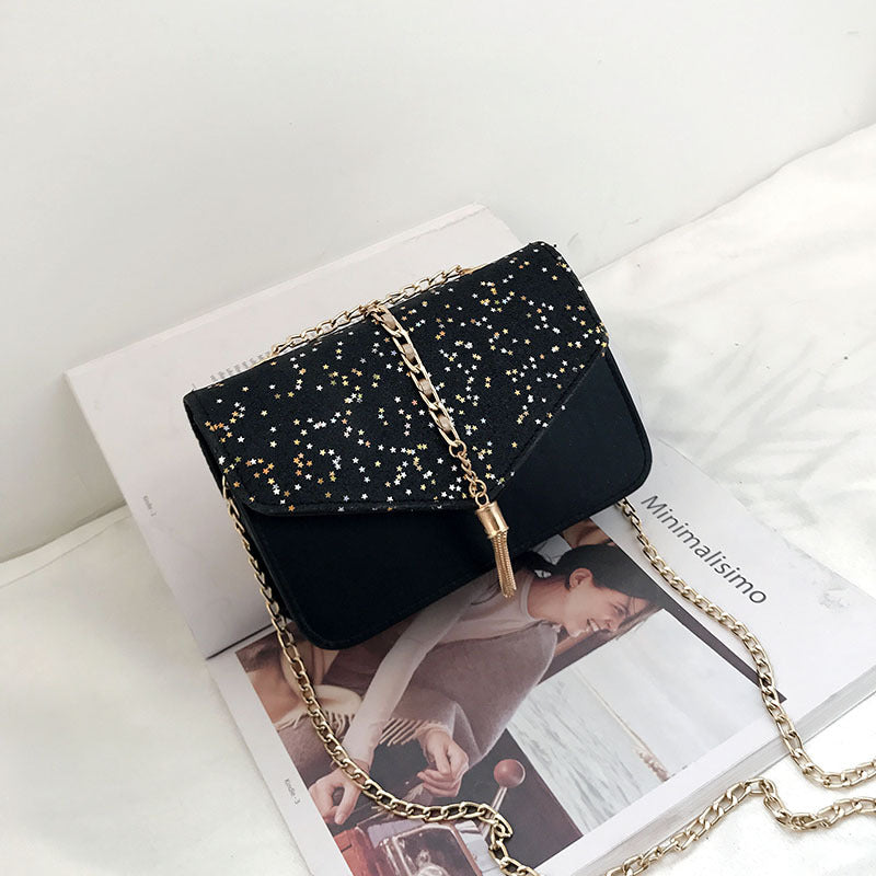 Costbuys  New Fashion Women Shoulder Bags Ladies Metal Chain Small Bags Women Tassel Sequins Handbags Girls Crossbody Evening Ba