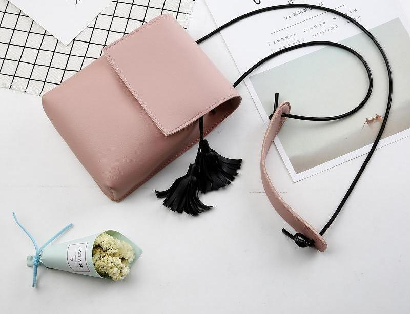 Costbuys  New Ladies Mini Shoulder Bags Girls Tassel Bags Women Leather Small Messanger Bags Girls Coin Money Bags - pink