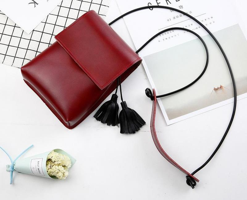 Costbuys  New Ladies Mini Shoulder Bags Girls Tassel Bags Women Leather Small Messanger Bags Girls Coin Money Bags - wine red