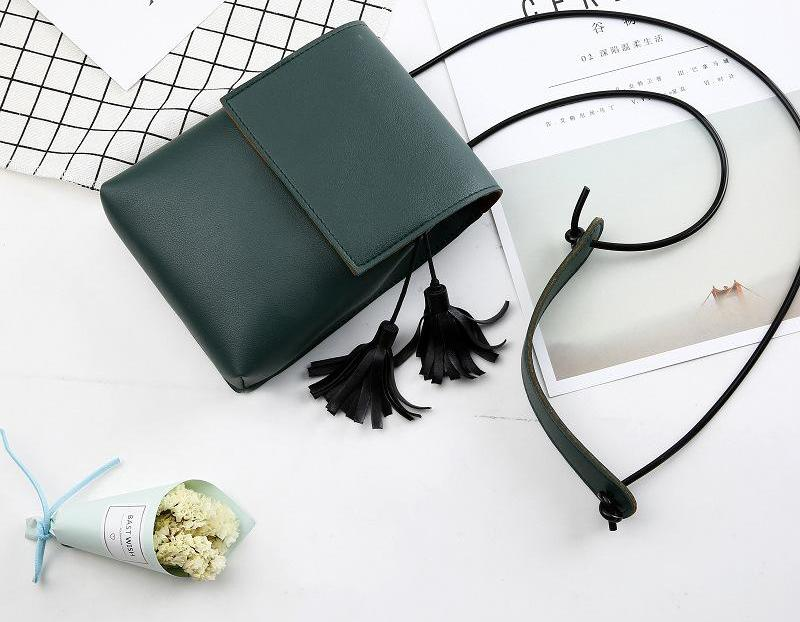 Costbuys  New Ladies Mini Shoulder Bags Girls Tassel Bags Women Leather Small Messanger Bags Girls Coin Money Bags - green