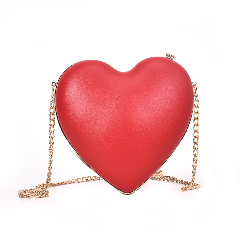 Costbuys  New Luxury Design Heart Shape Bags Women Fashion Small Chain Crossbody Bags Fashion Evening Bag Female Leather Handbag