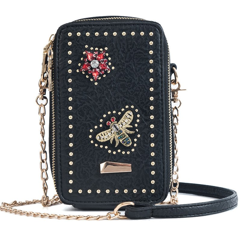 Costbuys  New Luxury Design Women Leather Handbags Fashion Flaps Female Rivet Chain Crossbody Bag Butterfly Applique Small Handb
