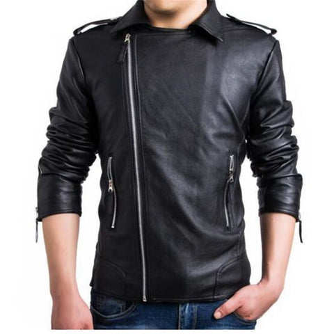 New Casual Slim Men's Leather Jacket Fashionable Men PU Leather Jacket Solid Color Mandarin Collar Male Jacket
