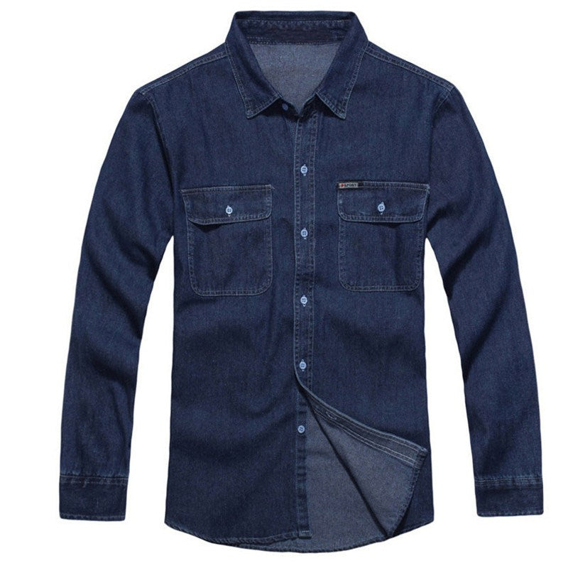 Costbuys  2018 New Men's Fashion Denim Shirt Long Sleeve Casual Top For Men Cargo Work Washed Shirt Streetwear Plus Size 3XL - D