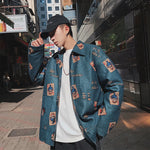 Men's Fashion Trend Printing Bomber Streetwear Jackets Casual Coats Loose Windbreaker High-quality Outerwear Size M-XL