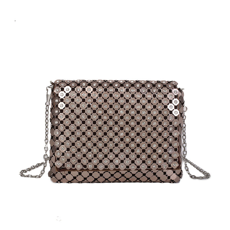 Costbuys  New Mini Crossbody Chain Bag Fashion Women Girl Cover Designer Champagne Color Leather Shoulder Bag with Bling Sequins