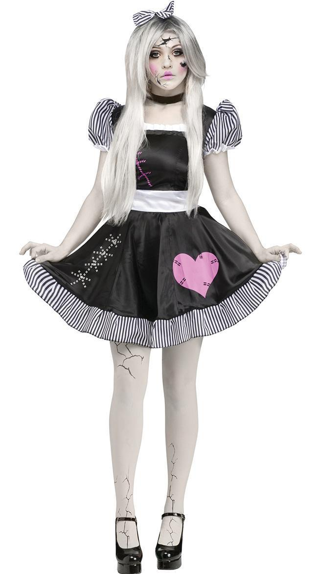 Costbuys  Porcelain Doll Costume Adult Women Cosplay Halloween Circus Clown Costume - Black / M / Halloween Costume