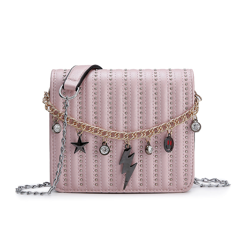 Costbuys  New Rivet Rhinestone Shoulder Bag Women Fashion Chain Bag Small Tote Female Crossbody Bag Lady Casual Travel Handbag F
