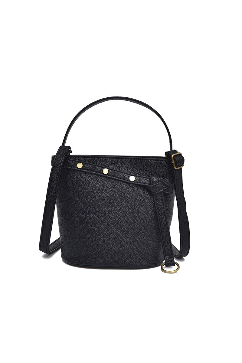 Costbuys  New Solid Rivet Shoulder Bag Women Fashion Handbag Female PU Leather Bucket Crossbody Bag Lady Casual Small Totes - Bl