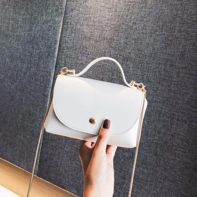 Costbuys  New Solid Simple Shoulder Bag Women Fashion Metal Chain Bag Female Rivet Small Crossbody Lady Casual Portable Handbags