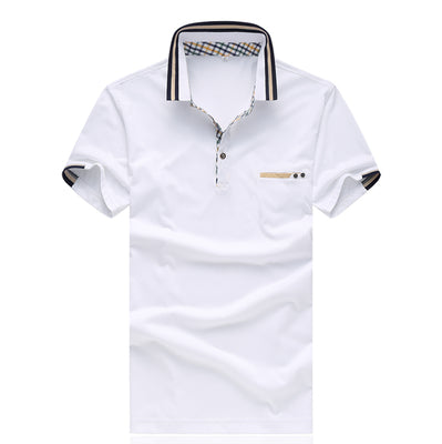 Costbuys  Summer Mens Polo Shirts Business Red Navy White Short Sleeve Polo Shirt Men Polo Homme Marque De Luxe M-5XL - White /