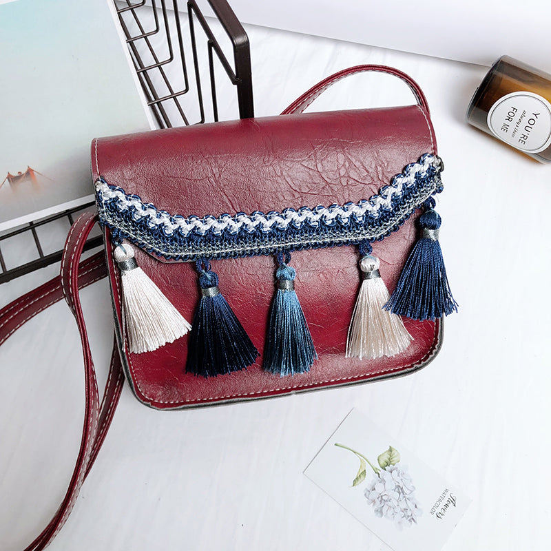 Costbuys  New Tassel Simple Shoulder Bag Women Fashion Solid Bags Female PU Leather Vintage Crossbody Bag Lady Casual Bag - Red