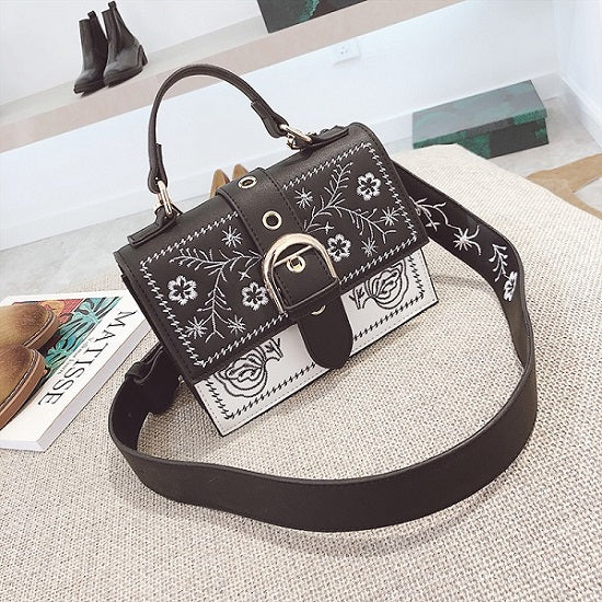 Costbuys  New Vintag Women Composite embroidery Zipper Hasp Single Shoulder Crossbody Bags Soft Fashion Womens Handbags Small To