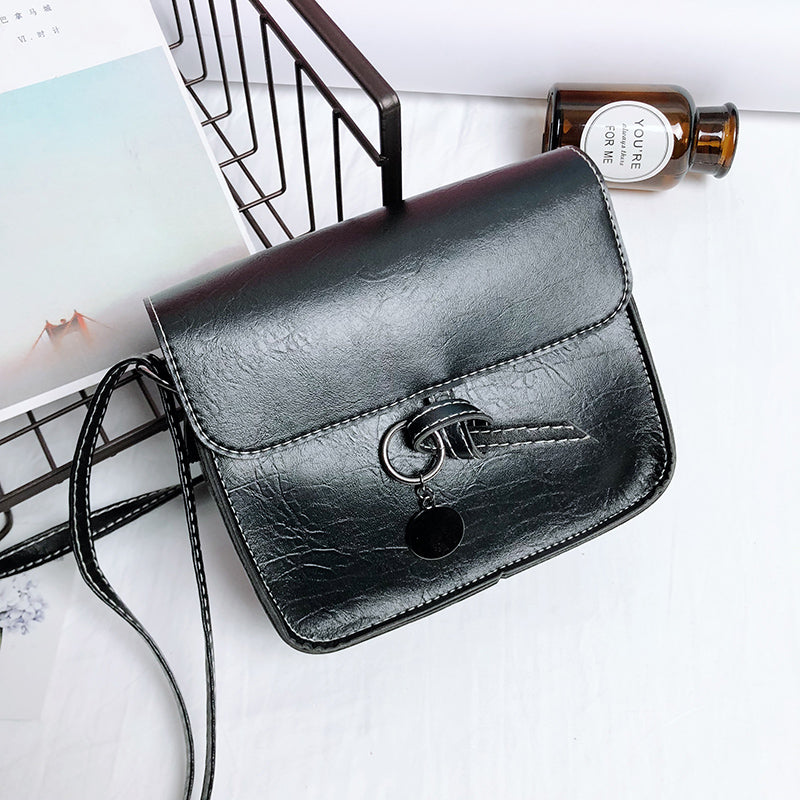Costbuys  New Vintage Solid Shoulder Bag Women Fashion Handbag Female PU Leather Crossbody Bag Lady Casual Simple Bags - Black