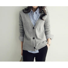 Women Sweater Cardigan Women Coat Long Sleeve Ladies Loose Knitted Cardigan Solid Black Grey