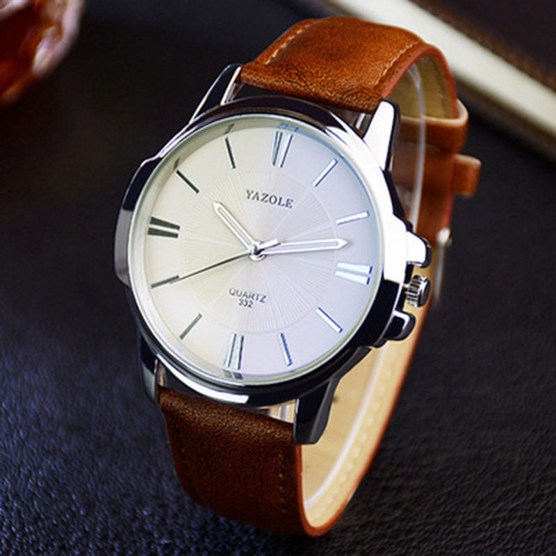 Costbuys  New Mens Watches Top Luxury Blue Glass Watch Men Watch Waterproof Leather Roman Men's Watch Male Clock relojes Mens/Wo