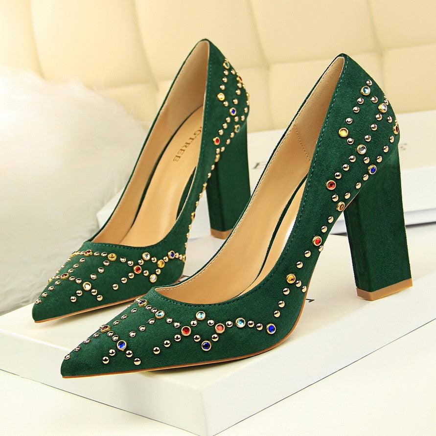 Spring Summer Elegant Pumps Thick Crysta Fashion High Heels Shoes Women Single Shoes