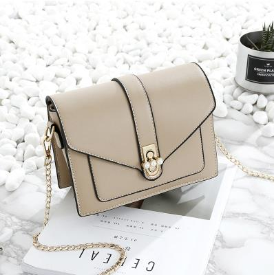 Costbuys  New fashion Women Small shoulder Bags Pearl buckle fairy Female MINI Messenger Bags PU Leather Chain square crossbody