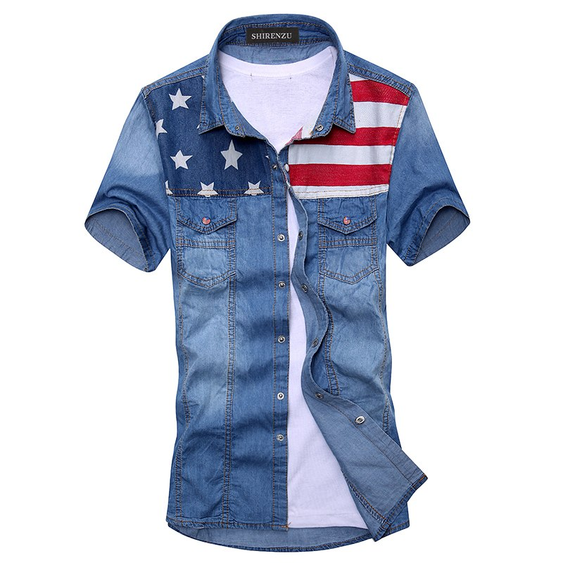 Costbuys  2018 New vintage men's fashion American Flag denim shirt short sleeve light blue jeans shirt free shipping Top quality