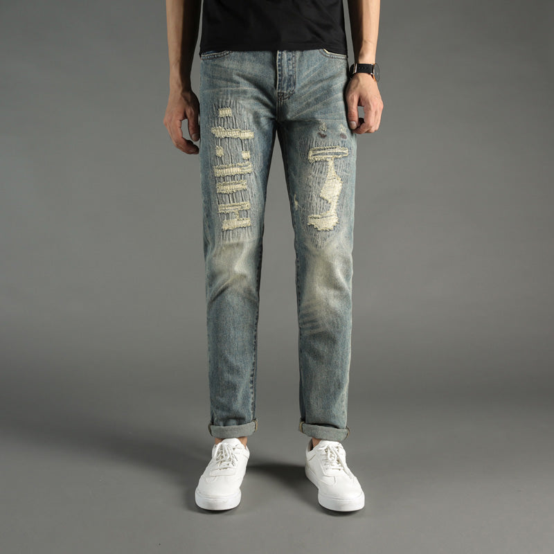 7e5f67a54e5 Fashion Men s Jeans Streetwear Hip Hop Ripped Jeans 100% Cotton Elasti –  Costbuys