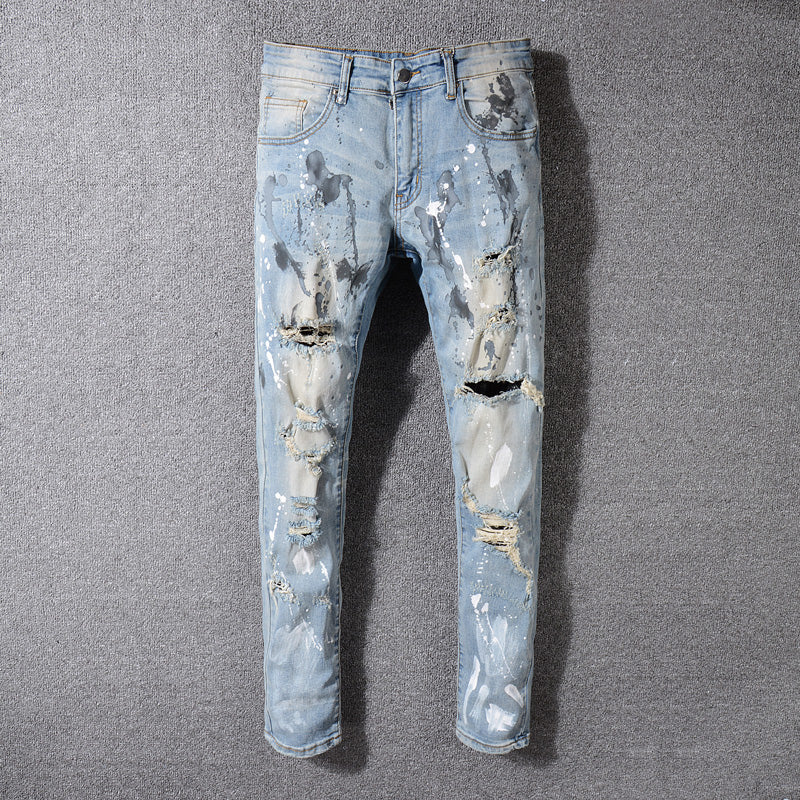 f1a0f0d33cf Fashion Men s Jeans High Street Youth Punk Pants Hip Hop Jeans Stretch  Designer Ripped Jeans Men