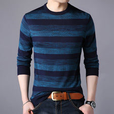 2018 Spring Fashion All-match Cozy Sweater Men Brand Clothes Slim O-Neck Collar Pullover Men Striped Knitted Sweaters Pull Homme