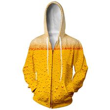 Spring Fashion Mens Hoodies And Sweatshirts 3D Print Yellow Beer Simple Valentine's Coats Casual Sportswear