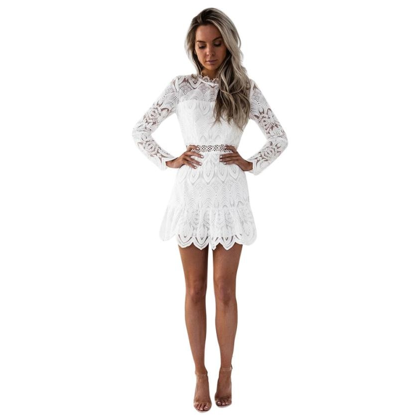 Spring Women's Lace Long Sleeve Turtleneck Party Lace dress Cocktail casual Mini Dress