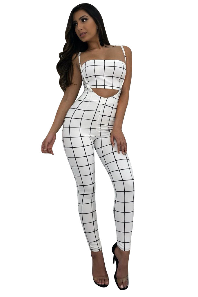 Costbuys  Summer Black White Plaid Sexy Skinny Jumpsuits Women Waist Band Cut Out Party Romper - White / S